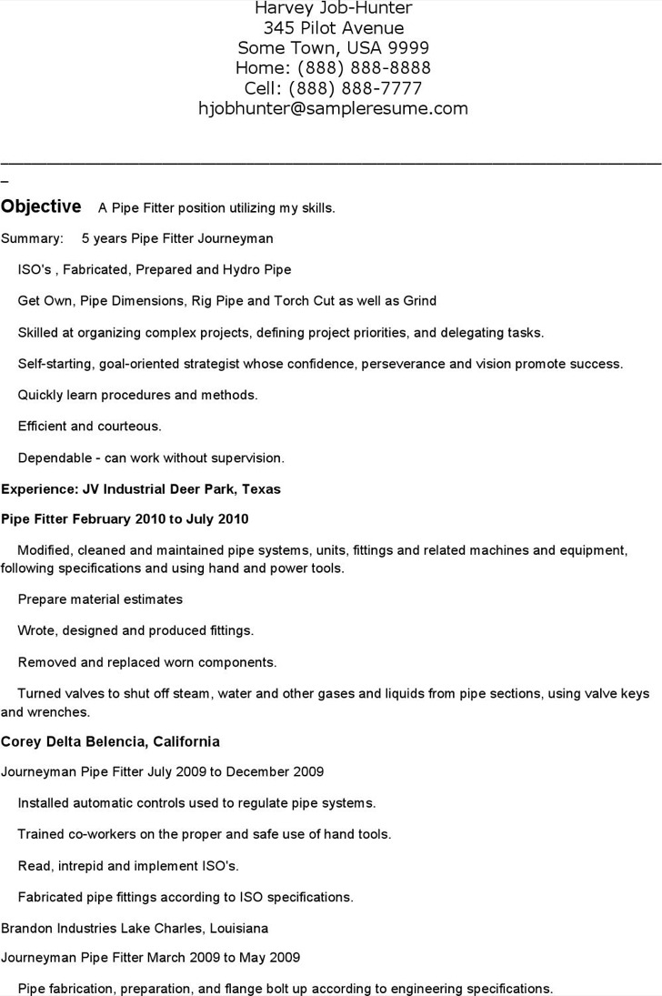 6  pipefitter resume templates free download