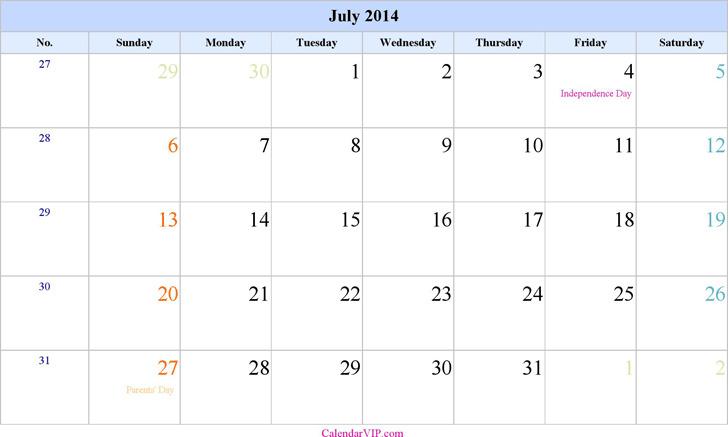 July 2014 Calendar 1