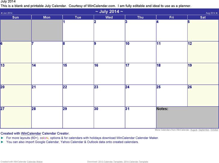 July 2014 Calendar 2