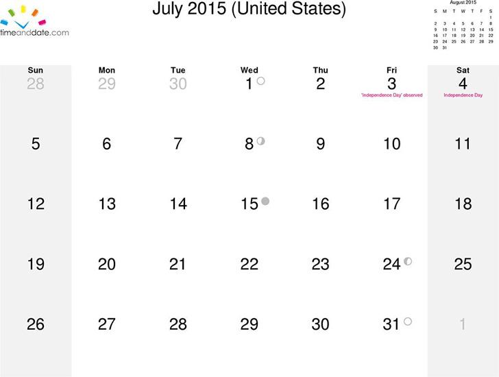 July 2015 Calendar 2
