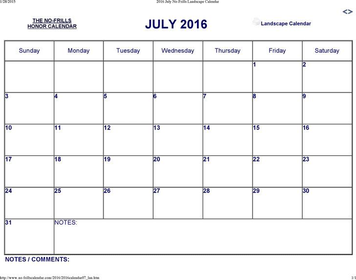July 2016 Calendar 2