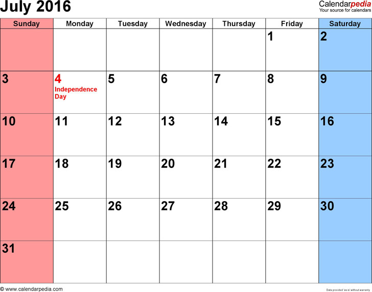 July 2016 Calendar 3