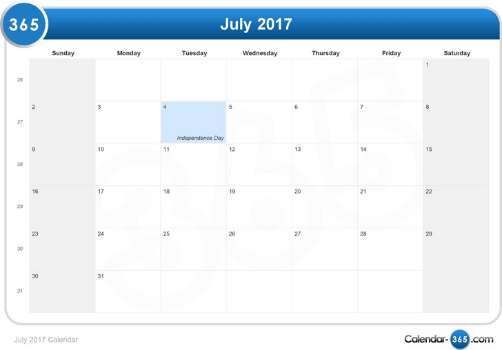 July 2017 Calendar 3