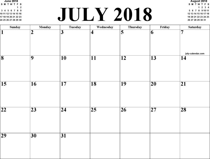 July 2018 Calendar 2