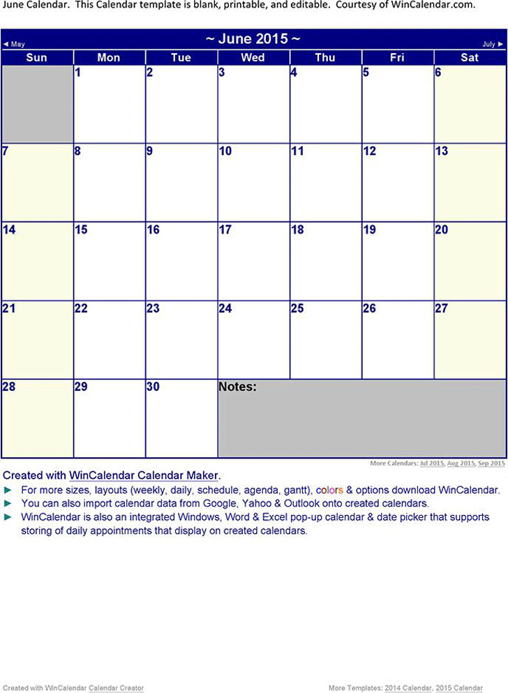 June 2015 Calendar 1