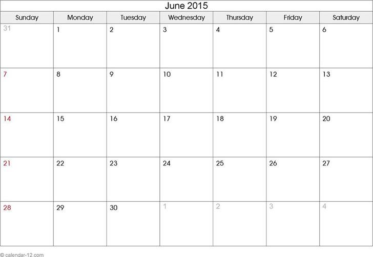 June 2015 Calendar 2