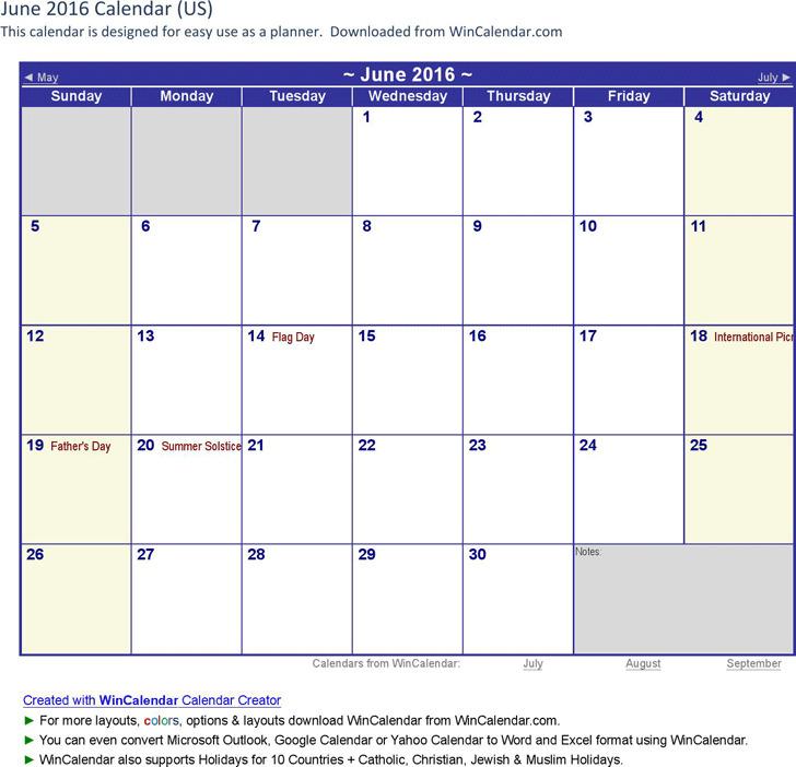 June 2016 Calendar 1
