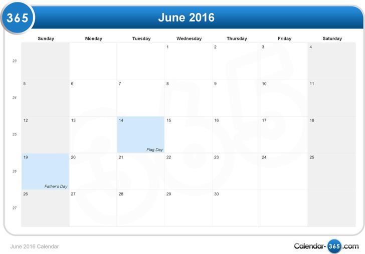 June 2016 Calendar 2