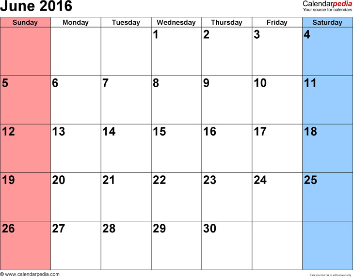 June 2016 Calendar 3