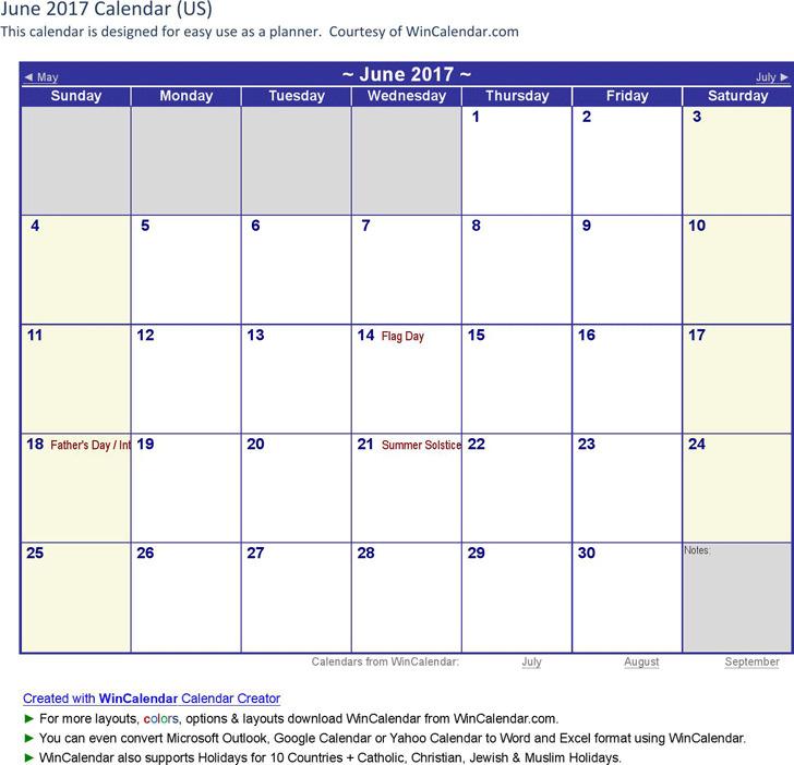 June 2017 Calendar 2