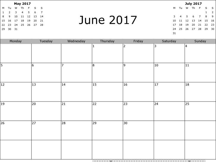 June 2017 Calendar 3