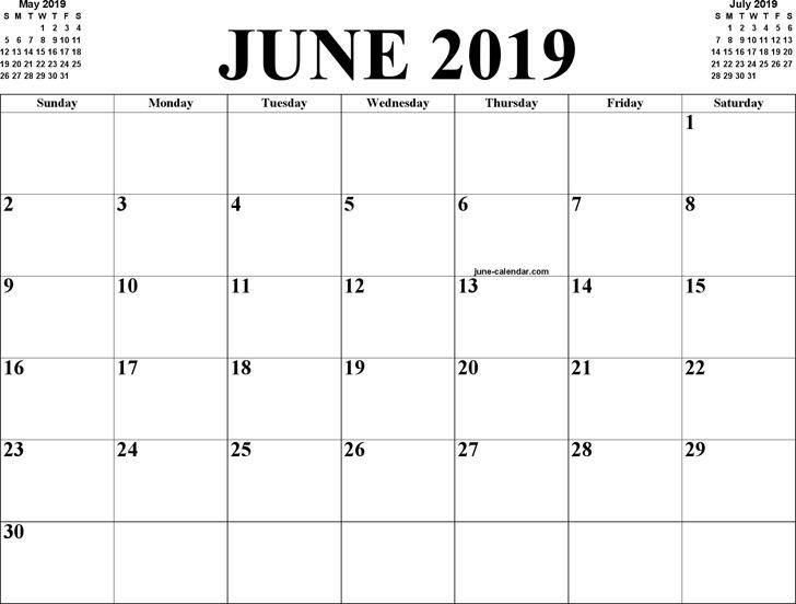 June 2019 Calendar 1
