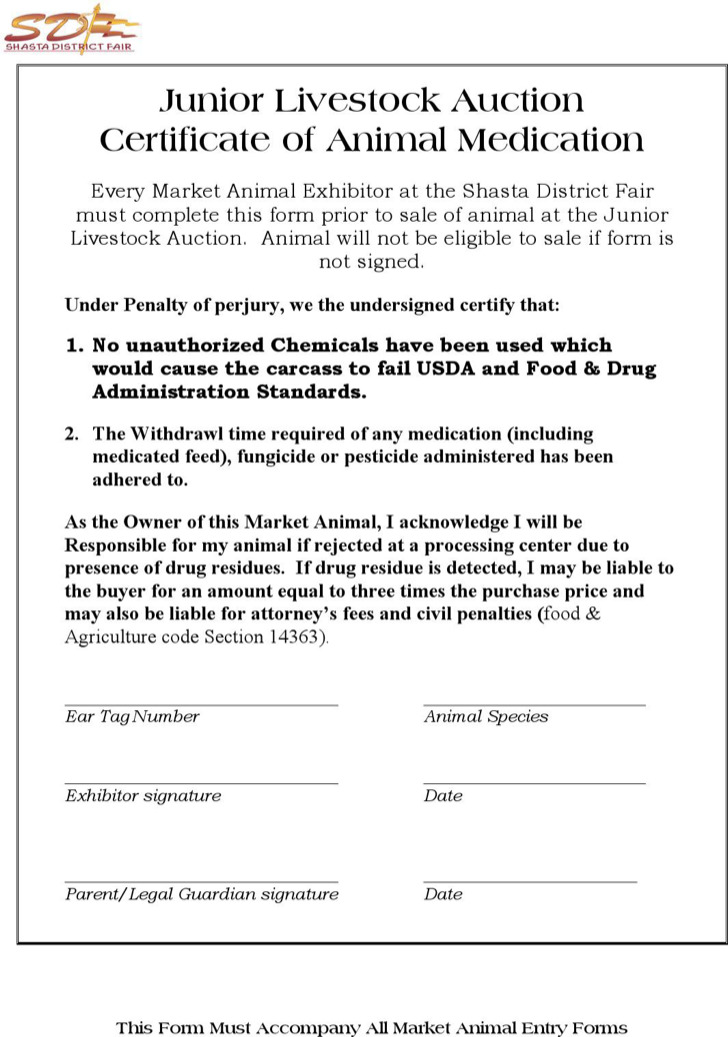 Junior Livestock Auction Certificate Of Animal Medication