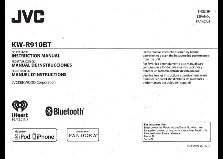 JVC Instruction Manual Sample