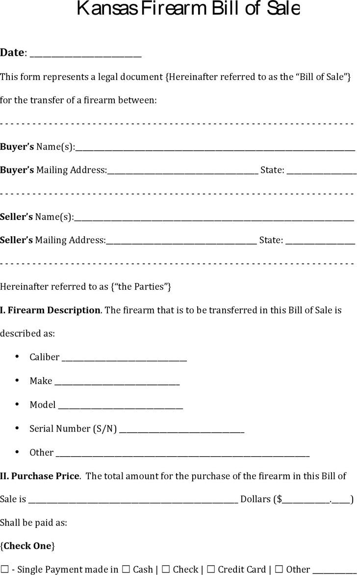 Bill Of Sale Kansas >> 3 Kansas Bill Of Sale Form Free Download