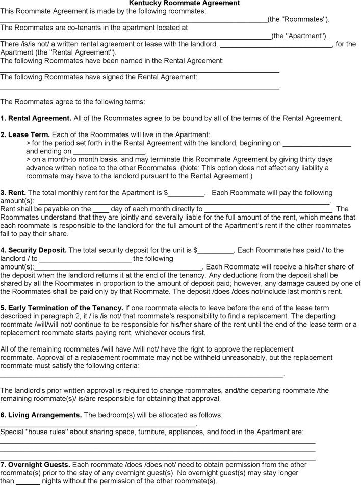 6 Kentucky Rent And Lease Template Free Download
