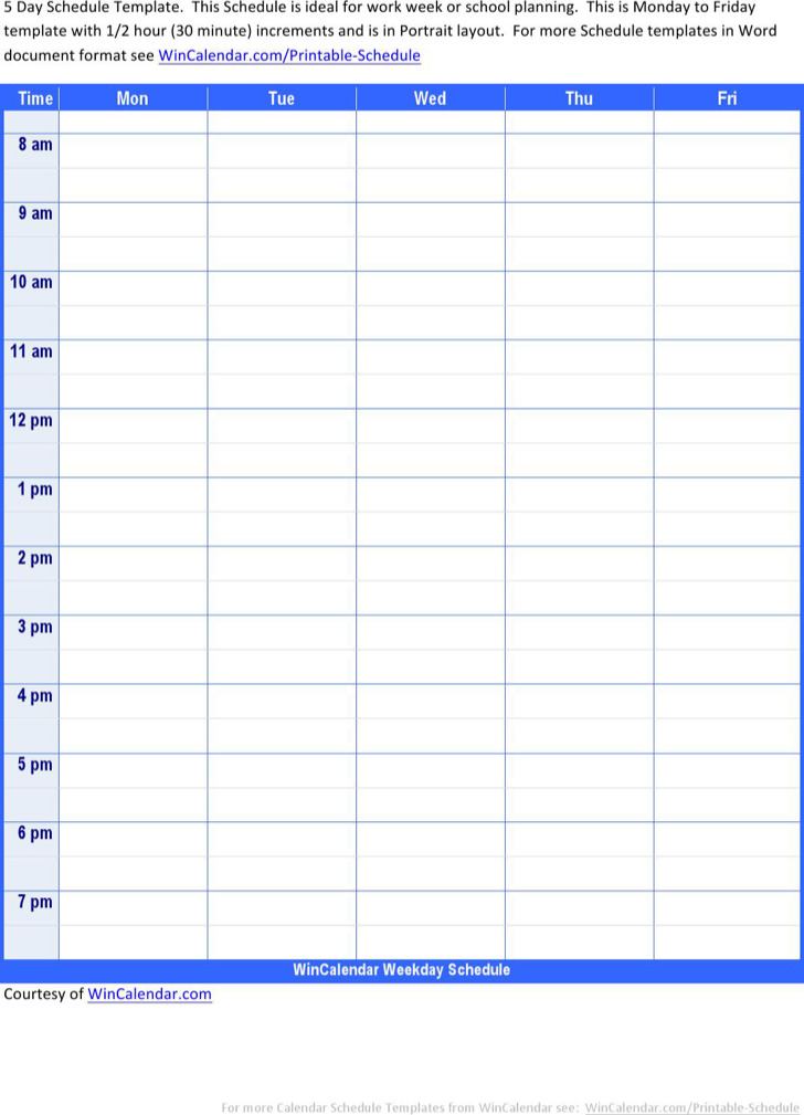 Kids Daily Work Schedule Template