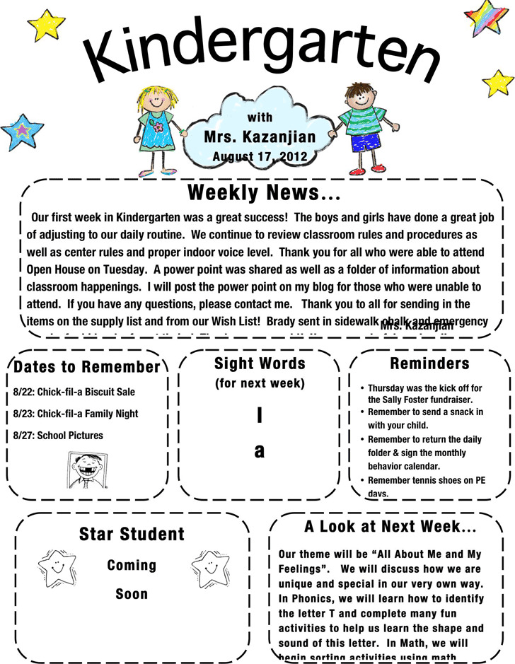 Kindergarten Newsletter Template 1