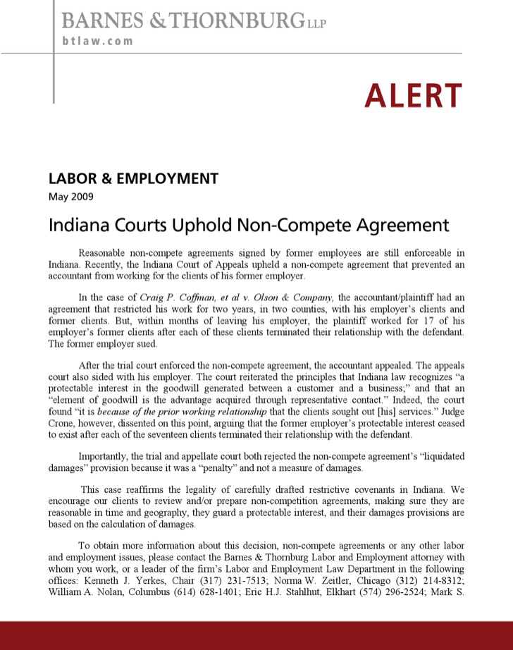 Labour and Employment Non Compete Agreement