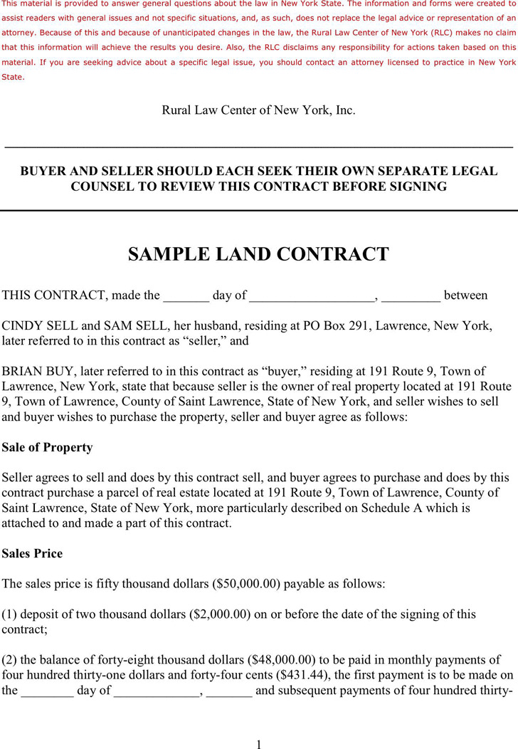 Sample Land Contract