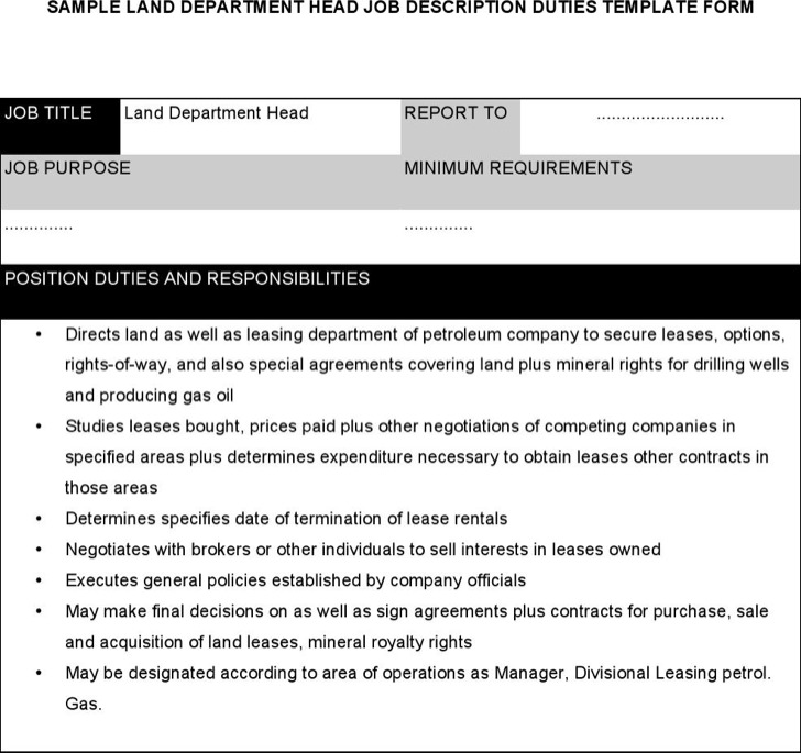 Land Department Head Job Description
