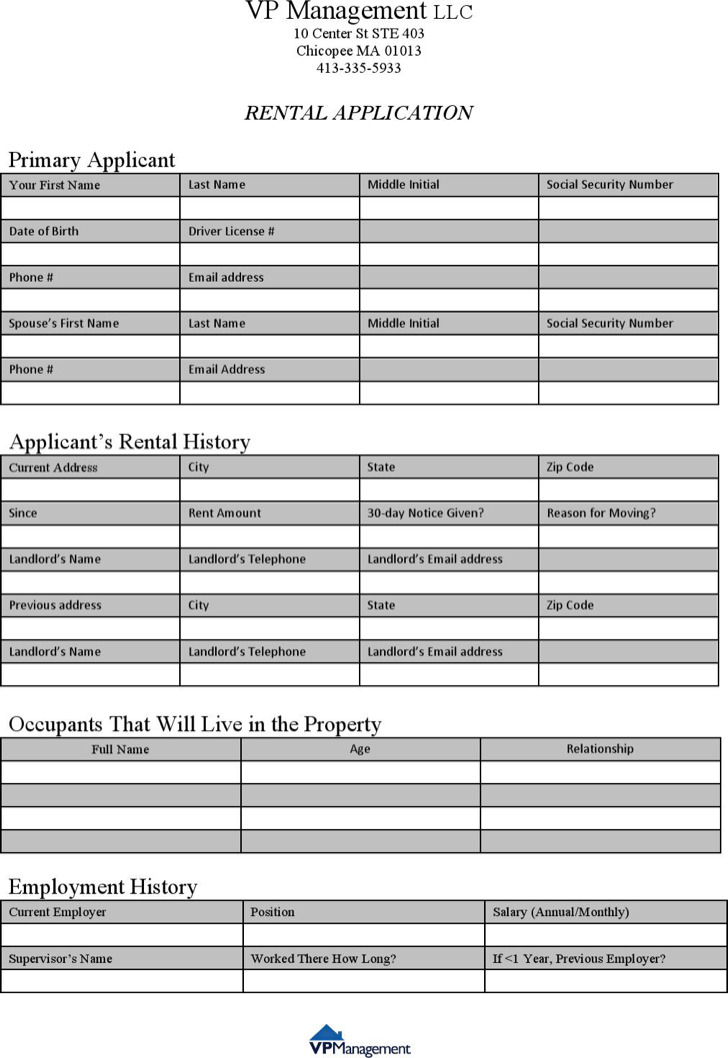 Landlord Rental Application Template