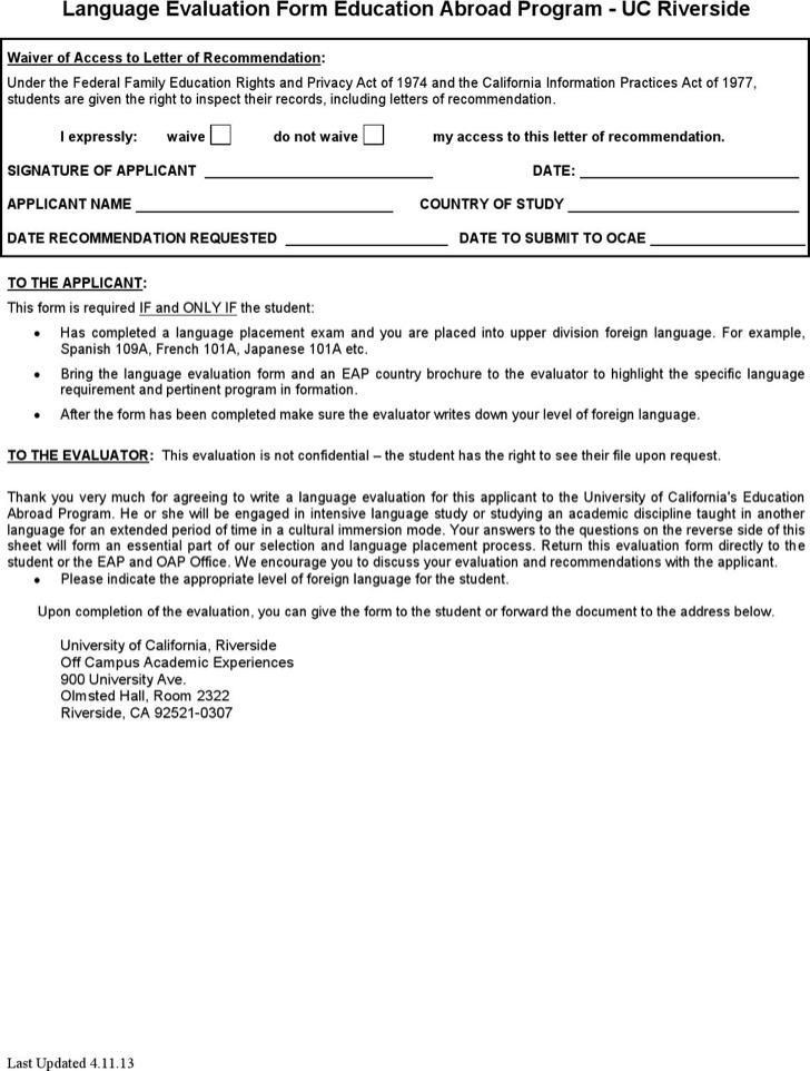 Language Evaluation Form