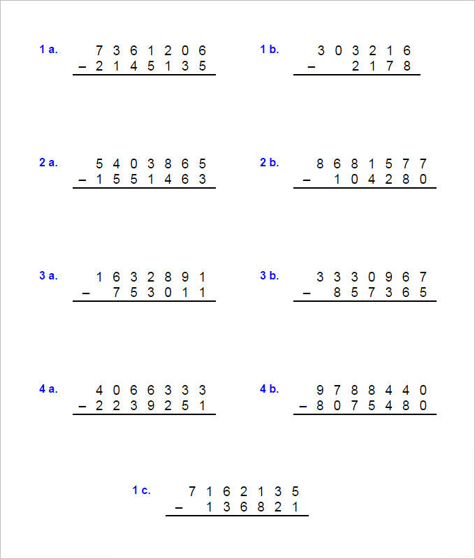 Large Addition And Subtraction Worksheet Template