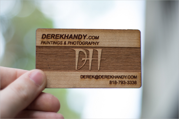 Laser Engraved Wood Business Card