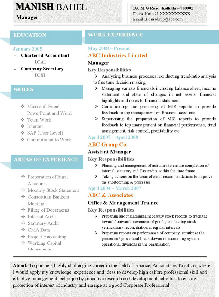 Latest Chartered Accountant Resume Sample Doc With Experience