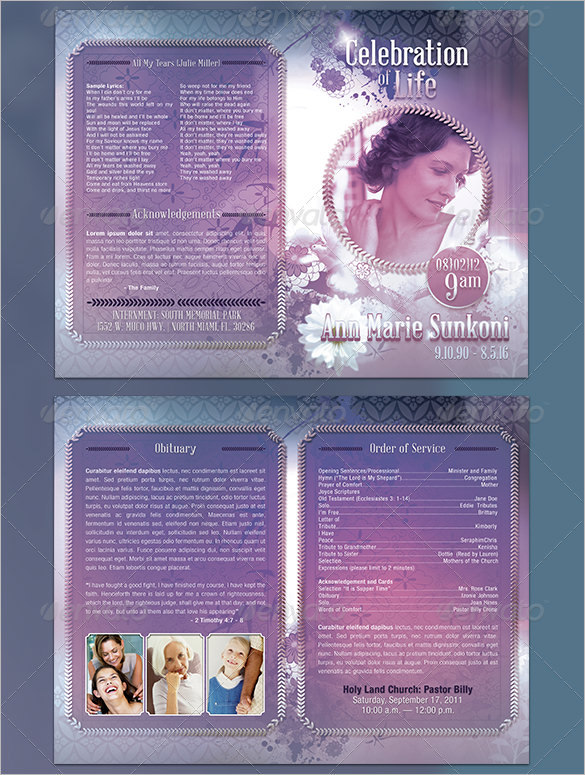 Lavender Obituary Program Template PSD