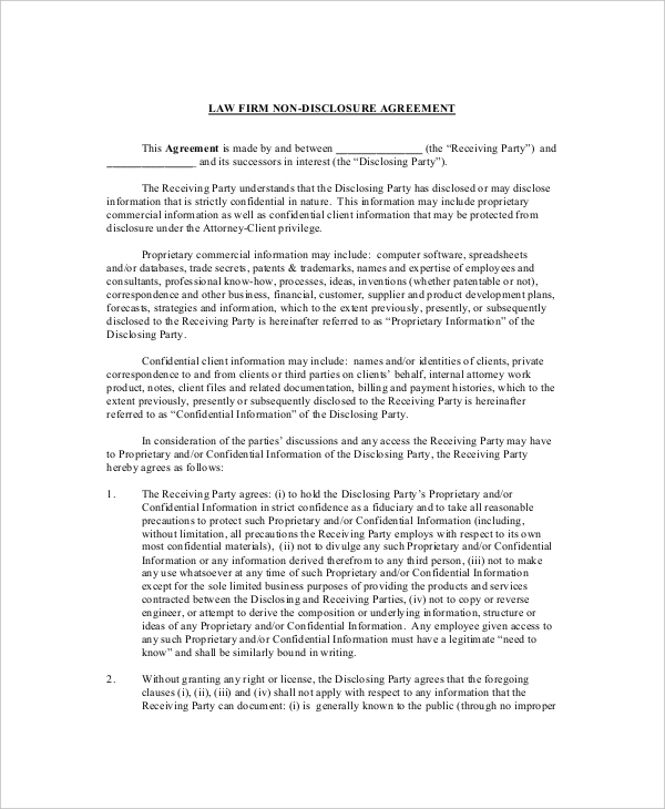Law Firm Non Disclosure and Confidentiality Agreement Sample