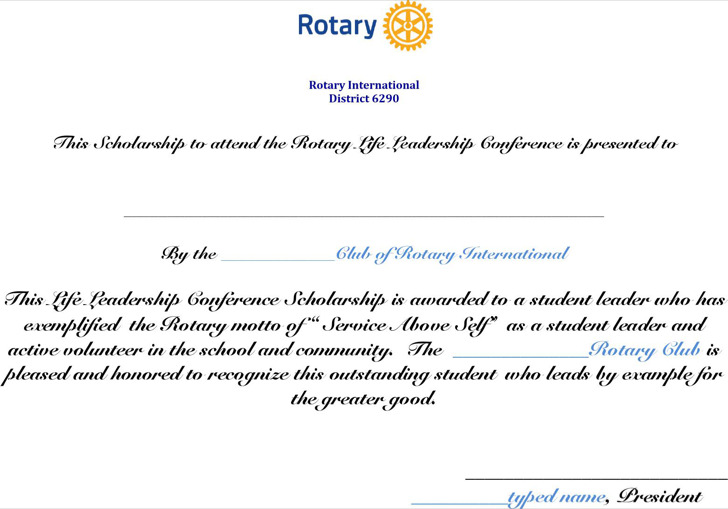 Leadership Conference Scholarship Certificate Template