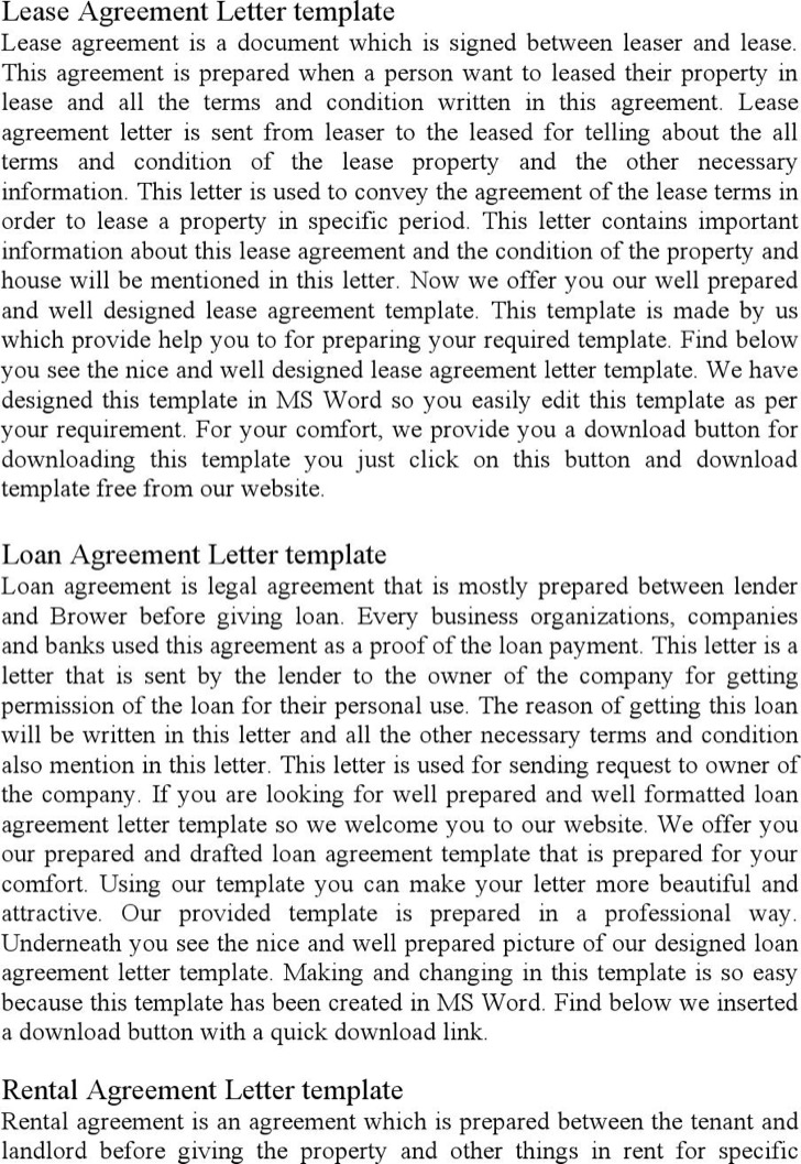 Lease Agreement Letter Free Download