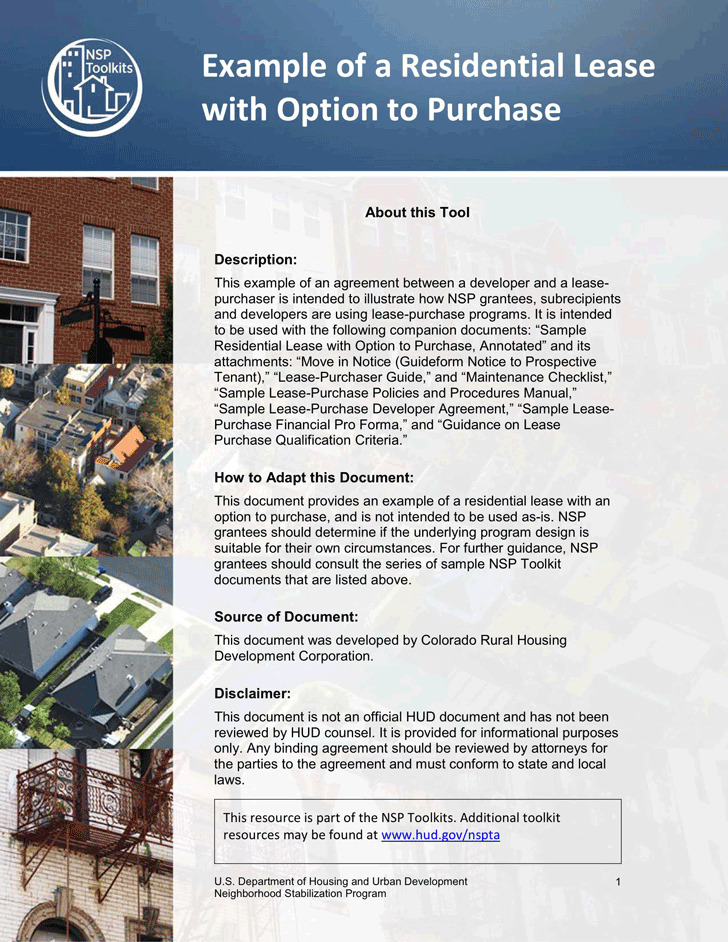 Example of a Residential Lease With Option to Purchase