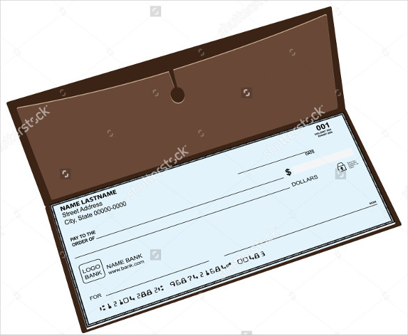 Leather Blank Checkbook with a Pocket for Storing Copies of Checks