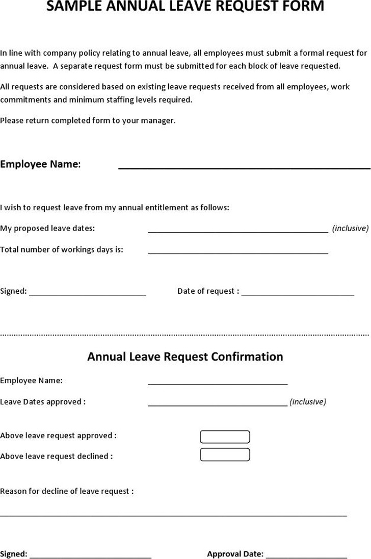 Sample Annual Leave Request Form