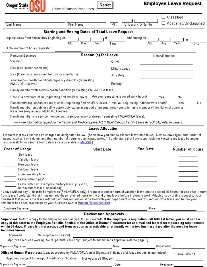 Employee Leave Request Form