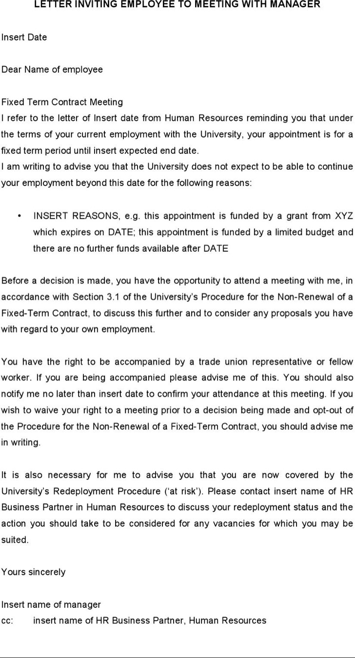 Letter Inviting Employee To Meeting With Manager Tempate