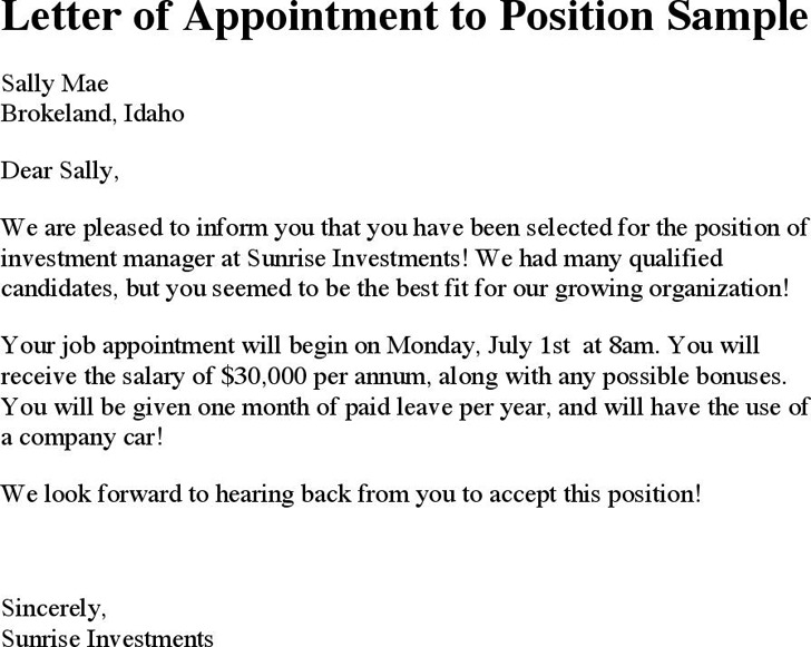 Letter of Appointment to Position Sample