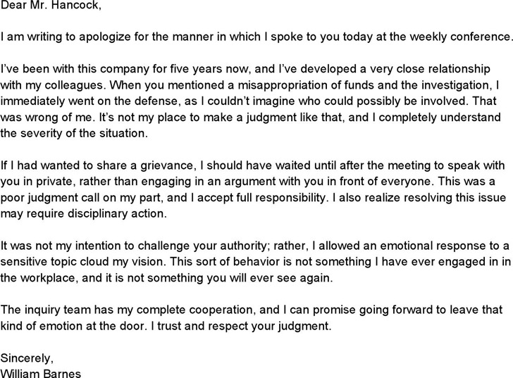 Letter of Business Apology
