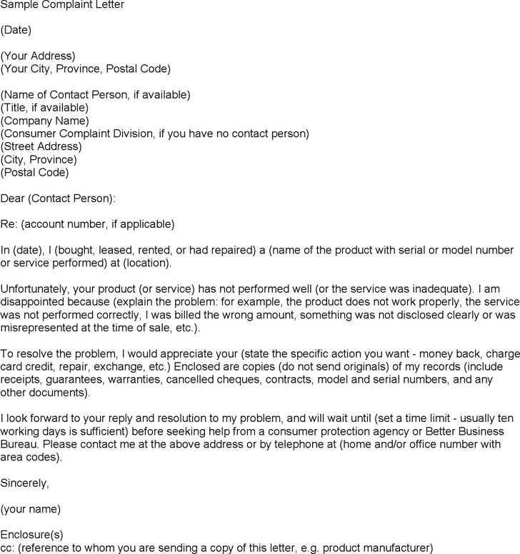 Letter of Complaint Template