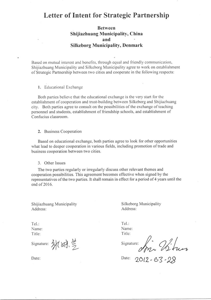 Letter Of Intent For Business Partnership