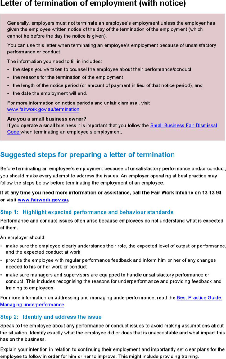 Letter Of Intent For Employment Termination