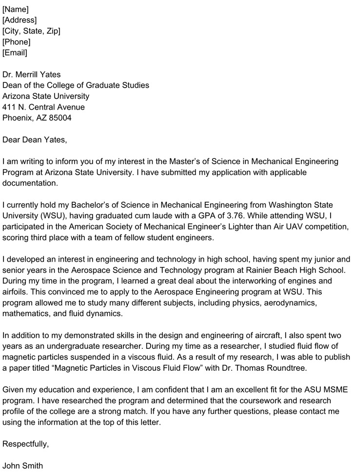 Letter of Intent for Graduate Program