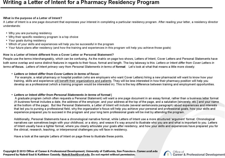 Letter Of Intent For Pharmacy Residency