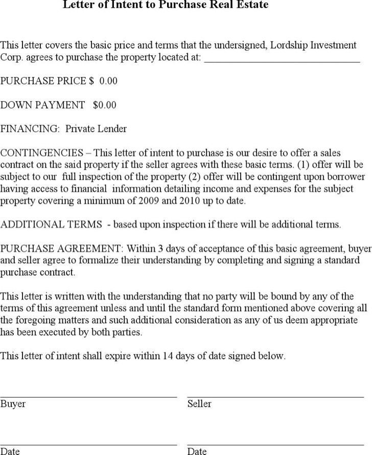 Letter Of Intent For Real Estate