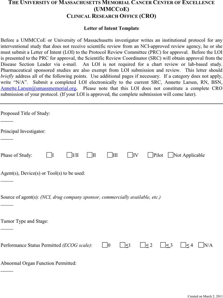 Letter of Intent Template Free