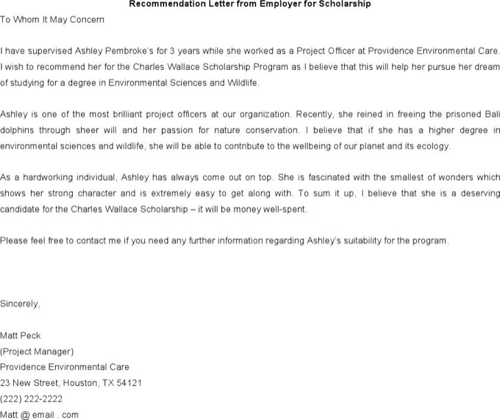 Letter Of Recommendation For Scholarship From Employer Word Doc