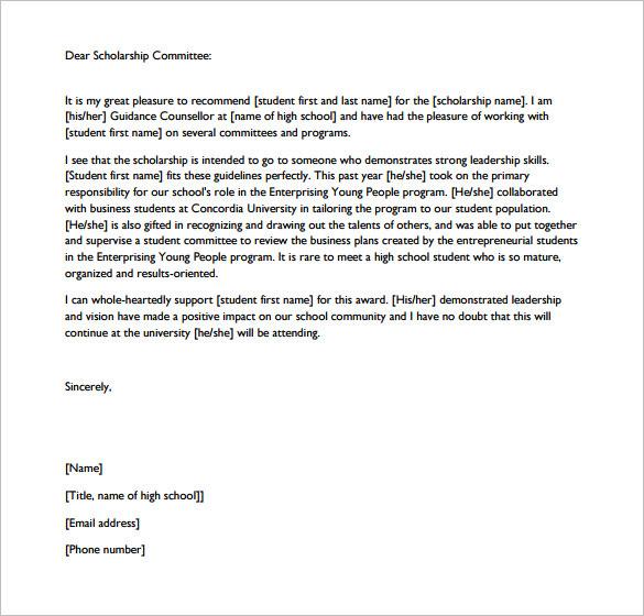 Letter of Recommendation for Scholarship From Teacher PDF Format